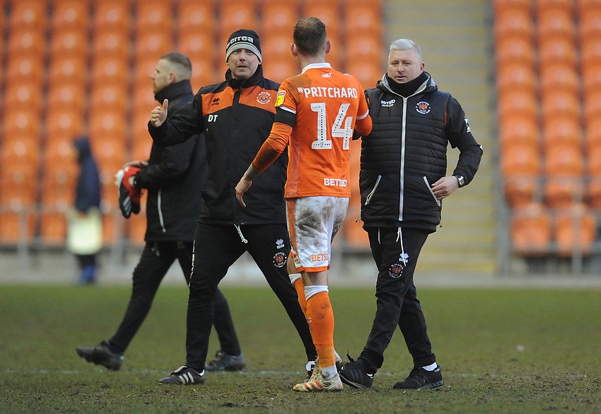 Blackpool's Manager Terry McPhillips (right) shakes hands with Harry Pritchard after the final whistle<br /> <br /> Photographer Kevin Barnes/CameraSport<br /> <br /> The EFL Sky Bet League One - Blackpool v Walsall - Saturday 9th February 2019 - Bloomfield Road - Blackpool<br /> <br /> World Copyright © 2019 CameraSport. All rights reserved. 43 Linden Ave. Countesthorpe. Leicester. England. LE8 5PG - Tel: +44 (0) 116 277 4147 - admin@camerasport.com - www.camerasport.com