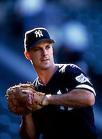 Tino Martinez of the New York Yankees plays in a baseball game at Edison International Field during the 1998 season in Anaheim, California. (Larry Goren/Four Seam Images)