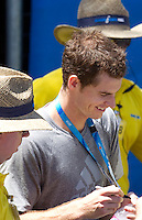Andy Murray signing autographs after a practice session at Melbourne Park..International Tennis - Australian Open Tennis - Saturday 23 Jan 2010 - Melbourne Park - Melbourne - Australia ..© Frey - AMN Images, 1st Floor, Barry House, 20-22 Worple Road, London, SW19 4DH.Tel - +44 20 8947 0100.mfrey@advantagemedianet.com