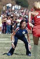 Actress Kristy McNichol plays football for Team ABC in Battle of the Network Stars, Pepperdine University, November 1979. Photo by John G. Zimmerman.