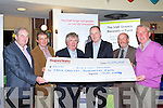 Toma?s Garvey presents Jim Barry Irish Grocers Benevolent fund President of Appeals a cheque of EUR28,000 which was raised at their golf classic in Killarney Golf course on Thursday front row l-r: Damian Kieran Hon Treasurer, Kevin McCarthy Garveys, Toma?s Gravey SuperValu, Jim Barry, Donal Healy PRO and Kieran Whyte Centra..