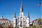 Saint Louis Cathedral and statue of Andrew Jackson in the Jackson Square New Orleans.