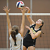 Jillian Graham #15 of Wantagh attempts to spike past Grace O'Dwyer #1 of Lynbrook during a Nassau County Conference A1 varsity girls volleyball match at Lynbrook High School on Thursday, Sept. 8, 2016. Wantagh won the match 3-1.