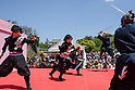 Chris O'Neill, MAY 5, 2016 - Ninjas perform during an event at Nagoya Castle in Nagoya, Aichi Prefecture, Japan. Aichi Prefecture hired six Japanese ninjas, and one American, Chris O'Neill, to promote tourism in the region.<br /> <br /> O'Neill said being a ninja was a lifelong dream. &quot;My personal goal is to protect the weak, defend the innocent, and be a guardian for those who need a guardian,&quot; he said in response to a reporter's question.<br /> <br /> O'Neill added that he was proud to perform alongside his six Japanese colleagues. &quot;We're writing the next chapter of ninja history. We're the next generation of ninja.&quot; (Photo by Ben Weller/AFLO) (JAPAN) [UHU]