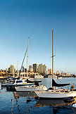USA, California, San Diego, several sailboats moored in the San Diego Bay