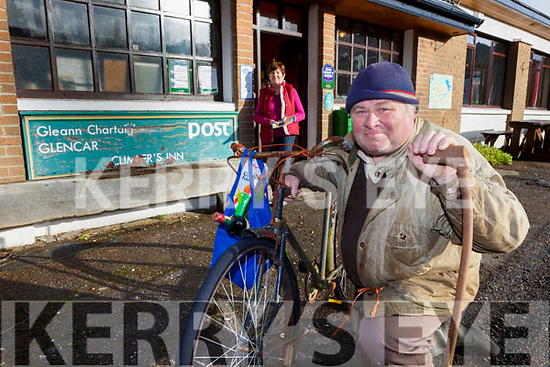 Paul Quirke who will have to cycle 12 miles if the Glencar Post Office is closed with Mary O'Sullivan Postmistress