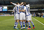 Real Sociedad's players celebrate goal during La Liga match. April 9,2016. (ALTERPHOTOS/Acero)