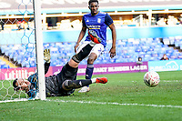 4th January 2020; St Andrews, Birmingham, Midlands, England; English FA Cup Football, Birmingham City versus Blackburn Rovers; Lee Camp of Birmingham City scrambles the ball clear at his near post - Strictly Editorial Use Only. No use with unauthorized audio, video, data, fixture lists, club/league logos or 'live' services. Online in-match use limited to 120 images, no video emulation. No use in betting, games or single club/league/player publications