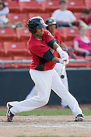 Leonel De Los Santos #2 of the Hickory Crawdads takes his swings against the Rome Braves at  L.P. Frans Stadium May 23, 2010, in Hickory, North Carolina.  The Rome Braves defeated the Hickory Crawdads 5-1.  Photo by Brian Westerholt / Four Seam Images