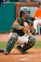 Catcher Torre Langley #2 of the Greensboro Grasshoppers on defense versus the Kannapolis Intimidators at NewBridge Bank Park June 20, 2009 in Greensboro, North Carolina. (Photo by Brian Westerholt / Four Seam Images)