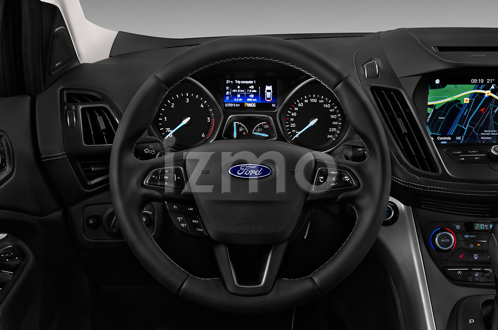 Car pictures of steering wheel view of a 2017 Ford Kuga Vignale 5 Door SUV