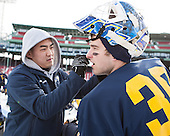 ?, Sam Marotta (Merrimack - 30) -  - The participating teams in Hockey East's first doubleheader during Frozen Fenway practiced on January 3, 2014 at Fenway Park in Boston, Massachusetts.