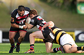 Joseph Royal arrives to help Andrew Kellaway as he is tackled. Mitre 10 Cup rugby game between Counties Manukau Steelers and Taranaki Bulls, played at Navigation Homes Stadium, Pukekohe on Saturday August 10th 2019. Taranaki won the game 34 - 29 after leading 29 - 19 at halftime.<br /> Photo by Richard Spranger.