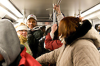 Spectators travel on the subway to the National Mall to attend the inauguration of Barack Obama as the 44th president of the United States of America, Tuesday, Jan. 20, 2009, in Washington, D.C. (Heather Halstead/pressphotointl.com)