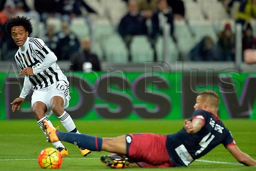 03.02.2016. Juventus Stadium, Turin, Italy. Serie A Football. Juventus versus Genoa. Juan Cuadrado crosses the ball and Sebastian De Maio touches into his own goal