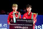 Chen Xingtong and Sun Yingsha of China pose with their prize after finishing women's doubles - final match against Chen Ke and Wang Manyu of China of Table Tennis Hang Seng Hong Kong Open on May 27, 2018 in Hong Kong, Hong Kong. Photo by Yu Chun Christopher Wong / Power Sport Images