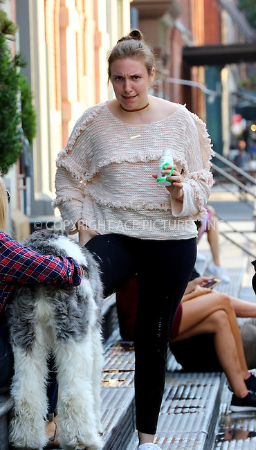 www.acepixs.com<br /> <br /> September 8 2016, New York City<br /> <br /> Actress and writer Lena Dunham pets a dog as she walks around Soho on September 8 2016 in New York City<br /> <br /> By Line: Zelig Shaul/ACE Pictures<br /> <br /> <br /> ACE Pictures Inc<br /> Tel: 6467670430<br /> Email: info@acepixs.com<br /> www.acepixs.com