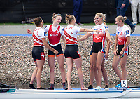 Glasgow, Scotland, Sunday, 5th  August 2018, Final Lightweight Women's Double Sculls, Gold, Silver and Bronze embrace on the boating pontoon, at the  European Games, Rowing, Strathclyde Park, North Lanarkshire, © Peter SPURRIER/Alamy Live News