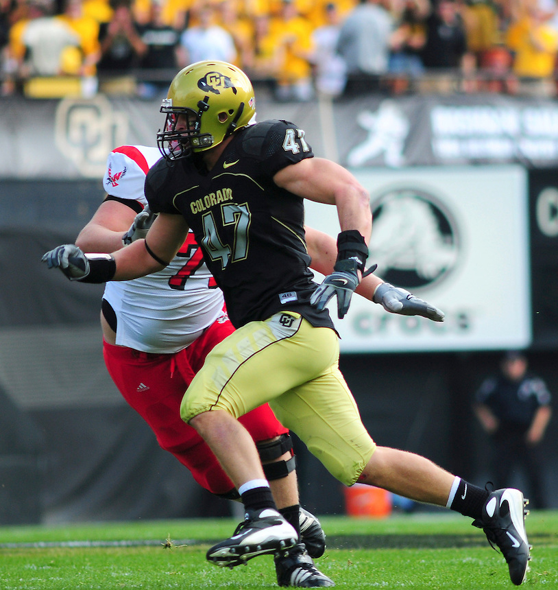 06 September 08: Colorado linebacker Shaun Mohler (47) on a play against Eastern Washington. The Colorado Buffaloes defeated the Eastern Washington Eagles 31-24 at Folsom Field in Boulder, Colorado. FOR EDITORIAL USE ONLY