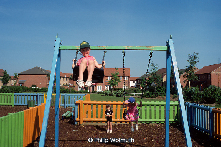Children play on the Highwoods Estate, Colchester, where the Guinness Trust is a social landlord.