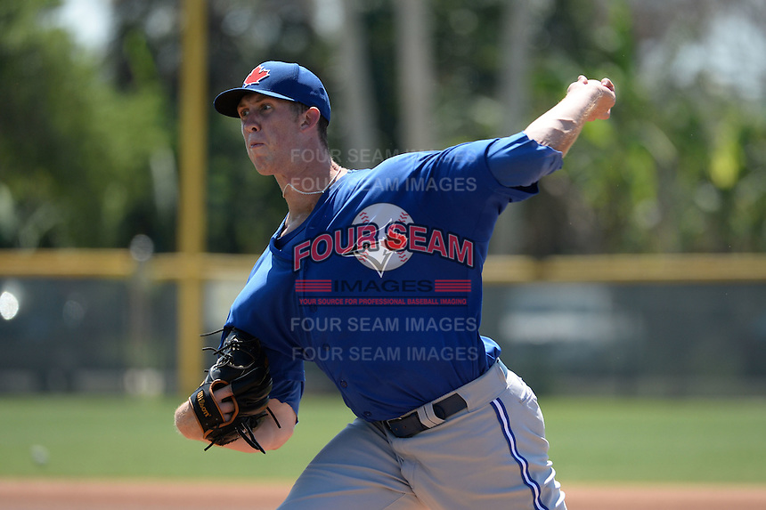 Toronto Blue Jays pitcher Matthew Smoral (83) during a minor league spring training game against the Pittsburgh Pirates on March 21, 2015 at Pirate City in Bradenton, Florida.  (Mike Janes/Four Seam Images)