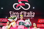 Race leader Simon Yates (GBR) Mitchelton-Scott retains the Maglia Rosa on the podium at the end of Stage 8 of the 2018 Giro d'Italia, running 209km from Praia a Mare to Montevergine di Mercogliano, Italy. 12th May 2018.<br /> Picture: LaPresse/Gian Mattia D'Alberto | Cyclefile<br /> <br /> <br /> All photos usage must carry mandatory copyright credit (&copy; Cyclefile | LaPresse/Gian Mattia D'Alberto)