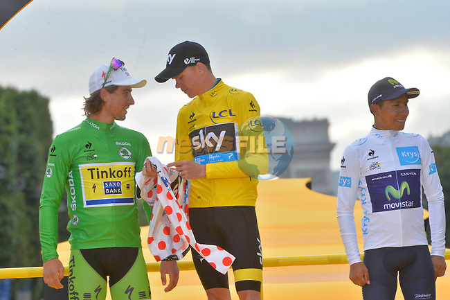 Overall Yellow Jersey winner Christopher Froome (GBR) Team Sky with Green Jersey winner Peter Sagan (SVK) Tinkoff-Saxo and White Jersey winner Nairo Quintana (COL) Movistar on the podium in Paris at the end of Stage 21 of the 2015 Tour de France running 109.5km from Sevres to Paris - Champs Elysees, France. 26th July 2015.<br /> Photo: ASO/B.Bade/Newsfile