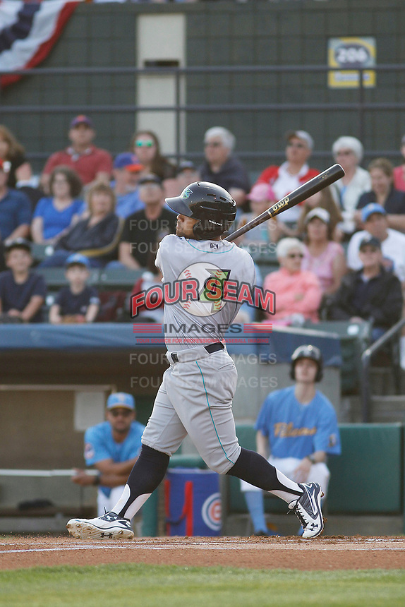 Lynchburg Hillcats outfielder Ka'ai Tom (4) at bat during a game against the Myrtle Beach Pelicans at Ticketreturn Field at Pelicans Ballpark on April 14, 2017 in Myrtle Beach, South Carolina. Lynchburg defeated Myrtle Beach 5-2. (Robert Gurganus/Four Seam Images)