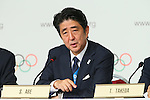 Shinzo Abe, <br /> SEPTEMBER 7, 2013 : <br /> A press conference after Tokyo was announced as the winning city bid for the 2020 Summer Olympic Games at the 125th International Olympic Committee (IOC) session in Buenos Aires Argentina, on Saturday September 7, 2013. (Photo by YUTAKA/AFLO SPORT)