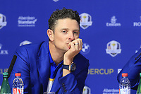 Justin Rose (Team Europe) at the press conference after Europe win the Ryder Cup 17.5 to 10.5 at the end of Sunday's Singles Matches at the 2018 Ryder Cup 2018, Le Golf National, Ile-de-France, France. 30/09/2018.<br /> Picture Eoin Clarke / Golffile.ie<br /> <br /> All photo usage must carry mandatory copyright credit (&copy; Golffile | Eoin Clarke)