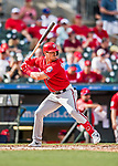 24 February 2019: Washington Nationals infielder Matt Reynolds at bat during a Spring Training game against the St. Louis Cardinals at Roger Dean Stadium in Jupiter, Florida. The Nationals defeated the Cardinals 12-2 in Grapefruit League play. Mandatory Credit: Ed Wolfstein Photo *** RAW (NEF) Image File Available ***