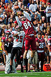 Brian Myrick / Daily Record..CWU's Johnny Spevak (84) makes a catch along the sidlines as the Cougar's Paul Royster (25) covers him during first half action at Tomlinson Stadium, Saturday, Sept. 19, 2009.