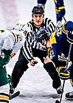 26 January 2019: With linesman Michael Wrobel holding the puck, University of Vermont Catamount Forward Derek Lodermeier, a Junior from Brooklyn Center, MN, faces off against Merrimack College Warrior Forward Sami Tavernier, a Junior from Morzine, France, at Gutterson Fieldhouse in Burlington, Vermont. The Catamounts defeated the Warriors 4-3 in overtime to take both games of their weekend America East conference series. Mandatory Credit: Ed Wolfstein Photo *** RAW (NEF)