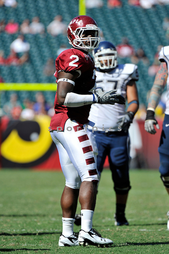 Sept 18, 2010; Temple University LB Tahir Whitehead (2) during  game against University of Connecticut.Temple won 30-16 at  Lincoln Financial Field Philadelphia, PA. Mandatory Credit: Tomasso DeRosa