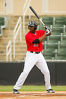 Keon Barnum (35) of the Kannapolis Intimidators at bat against the Greenville Drive at CMC-Northeast Stadium on June 29, 2013 in Kannapolis, North Carolina.  The Intimidators defeated the Drive 9-3 in the completion of the game that began on June 28, 2013.   (Brian Westerholt/Four Seam Images)