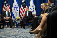 """(L to R) Prime Minister of Israel Benjamin Netanyahu and United States President Barack Obama meet during a bilateral meeting at the Lotte New York Palace Hotel, September 21, 2016 in New York City. Last week, Israel and the United States agreed to a $38 billion, 10-year aid package for Israel. Obama is expected to discuss the need for a """"two-state solution"""" for the Israeli-Palestinian conflict. Photo Credit: Drew Angerer/CNP/AdMedia"""