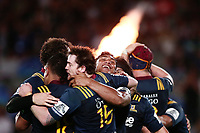Malakai Fekitoa of the Highlanders celebrates with the team at the final whistle. Super Rugby match, Blues v Highlanders at Eden Park, Auckland, New Zealand. 11 March 2017 © Copyright Photo: Anthony Au-Yeung / www.photosport.nz