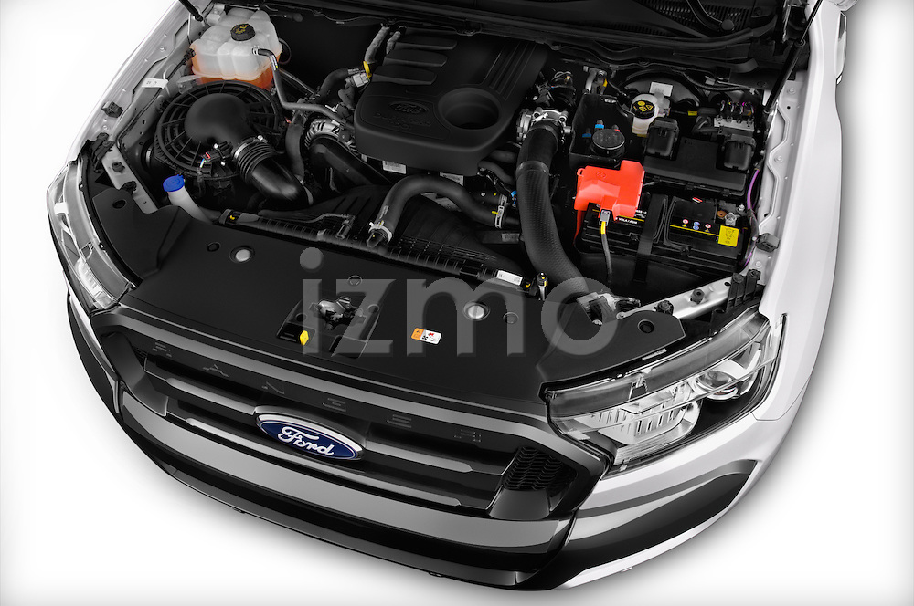 Car Stock 2016 Ford Ranger Wildtrak 4 Door Pickup Engine  high angle detail view