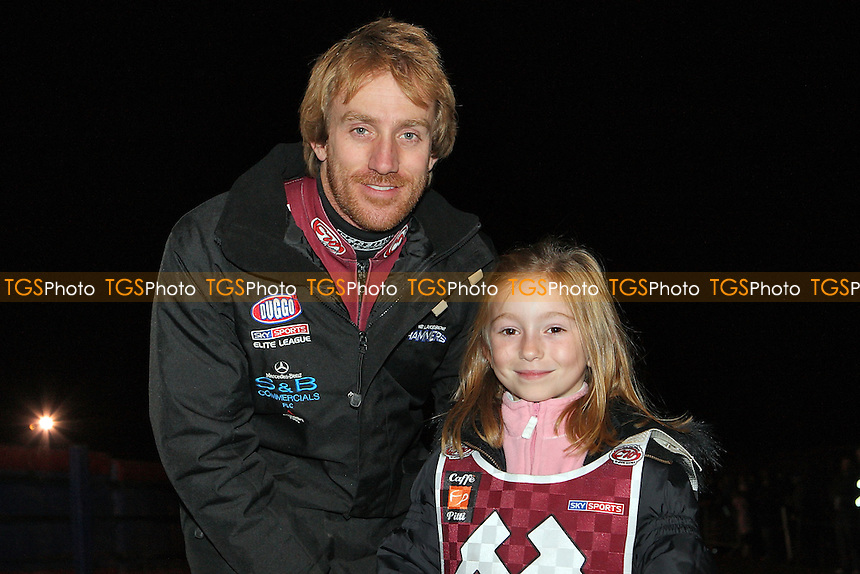 Adam Shields with the Lakeside mascot - Lakeside Hammers vs Coventry Bees - Elite League Knockout Cup Final 1st Leg at Arena Essex Raceway - 14/10/09 - MANDATORY CREDIT: Gavin Ellis/TGSPHOTO - Self billing applies where appropriate - Tel: 0845 094 6026