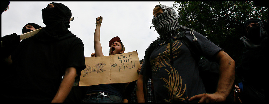 Sept. 24,  - Pittsburgh, Pennsylvania, USA - .Protesters and self-proclamed anarchist gather at Arsenal Park before attempting to make their way to downtown Pittsburgh, PA Thursday to the site of the G-20 Summit.  The group was eventually met with tear gas and sound cannon from riot police. Brian Blanco/ZUMA Press