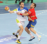 25.01.2013 Barcelona, Spain. IHF men's world championship, Semi-final. Picture show Mirko Alilovic  in action during game between Spain vs Slovenia at Palau St. Jordi