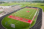 USA, Indiana, Indianapolis high school athletic field for football and track, seen from the air..