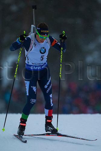 06.03.2016. Oslo Holmenkollen, Oslo, Norway. IBU Biathlon World Championships. Dorothea Wierer of Italy competes in the ladies 10km pursuit competition during the IBU World Championships Biathlon in Holmenkollen Oslo, Norway.