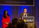 Adam Laxalt with wife Jamie gives his concession speech at the Grand Sierra Resort in Reno, Nev., Tuesday, Nov. 6, 2018. (AP Photo/Tom R. Smedes)