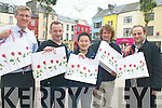 PAINT THE TOWN RED: Launching the limited edition red roses carrier bags in Tralee on Monday were, l-r: David Fitzgerald of Dan Fitzgerald & Sons, Eamonn Barry of Barry Packaging, Richard Wong of IT Eireann, John Barry of Barry Printing and Aleksandras Ilarionovas of Zeit Solutions. The bags will be distributed by retailers during the Rose of Tralee.   Copyright Kerry's Eye 2008