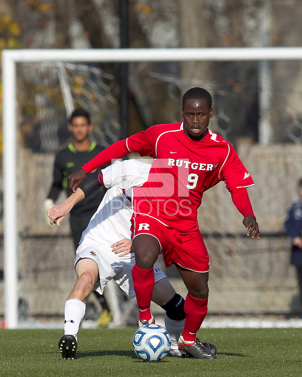 Rutgers University forward Ibrahim Kamara (9) controls a pass. Rutgers University defeated Boston College in penalty kicks after two overtime periods in NCAA Division I tournament action, at Newton Campus Field, November 20, 2011.