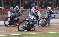 Heat 5: David Mason (red), Alfie Bowtell (blue) and Mark Baseby (white)<br /> <br /> Photographer Rob Newell/CameraSport<br /> <br /> National League Speedway - Lakeside Hammers v Eastbourne Eagles - Lee Richardson Memorial Trophy, First Leg - Friday 14th April 2017 - The Arena Essex Raceway - Thurrock, Essex<br /> &copy; CameraSport - 43 Linden Ave. Countesthorpe. Leicester. England. LE8 5PG - Tel: +44 (0) 116 277 4147 - admin@camerasport.com - www.camerasport.com