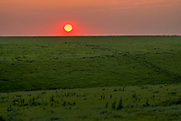 The sunset over the Flying W Ranch in the Flint Hills of Kansas.