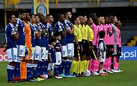 BOGOTÁ - COLOMBIA, 22-07-2018: Los jugadores de Millonarios y Boyacá Chicó F. C., durante partido de la fecha 1 entre Millonarios y Boyacá Chicó F. C., por la Liga Aguila II-2018, jugado en el estadio Nemesio Camacho El Campin de la ciudad de Bogota. / The players of Millonarios and Boyaca Chico F. C., during a match of the 1st date between Millonarios and Boyaca Chico F. C., for the Liga Aguila II-2018 played at the Nemesio Camacho El Campin Stadium in Bogota city, Photo: VizzorImage / Luis Ramirez / Staff.