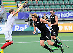 The Hague, Netherlands, June 08: Andy Hayward #5 of New Zealand scores a penalty corner (2-5) during the second half during the field hockey group match (Men - Group B) between the Black Sticks of New Zealand and Germany on June 8, 2014 during the World Cup 2014 at Kyocera Stadium in The Hague, Netherlands.  Final score 3-5 (1-3) (Photo by Dirk Markgraf / www.265-images.com) *** Local caption ***